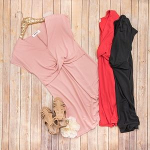 Blush twist dress by Double Zero